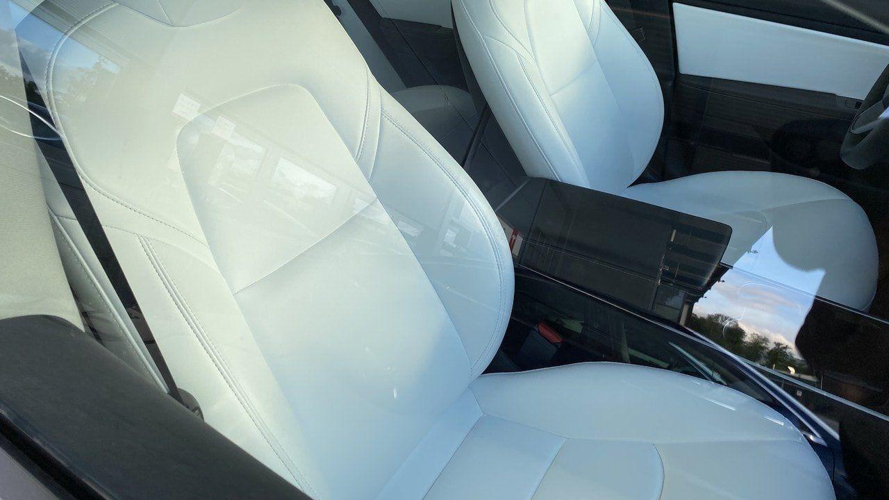 clean white Tesla seats